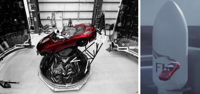 일론 머스크가 트위터를 통해 공개한 우주인마네킹을 실은 전기 스포츠카 로드스터(왼쪽). 이 로드스터는 6일(현지시간) 스페이스X의 대형 로켓인 '팰컨헤비'에 실려 화성을 향해 발사될 예정이다(오른쪽). - 일론 머스크 트위터·스페이스X 제공